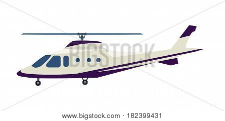 Passenger helicopter icon isolated on white background vector illustration. Air transport, propeller aerial vehicle, flying modern aviation in flat design.