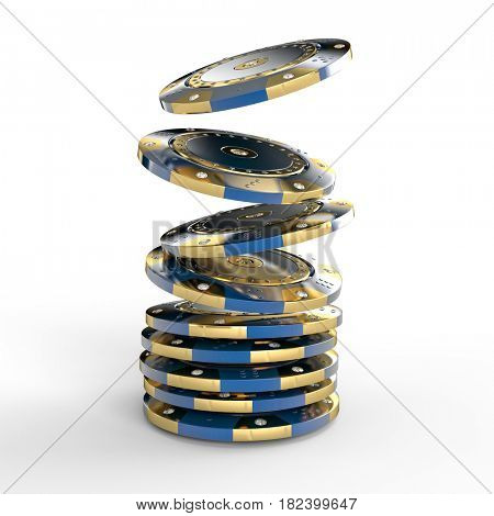 diamond blue  and gold casino chip 3d rendering