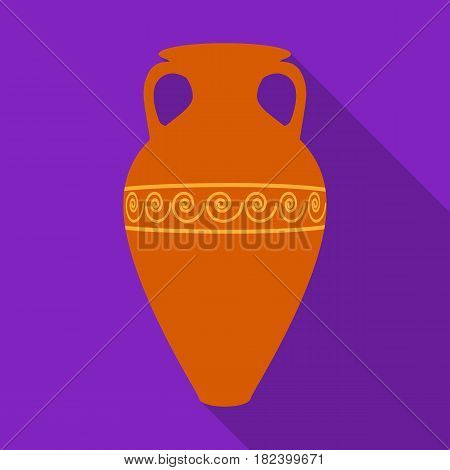 Greece amphora icon in flat style isolated on white background. Greece symbol vector illustration.