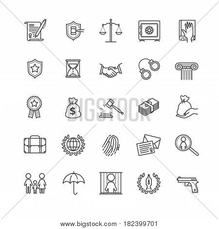Thin line icons set - law and lawyer services for your design