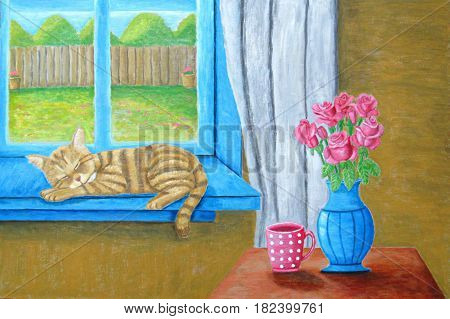 still life cat napping on window with roses on table painting