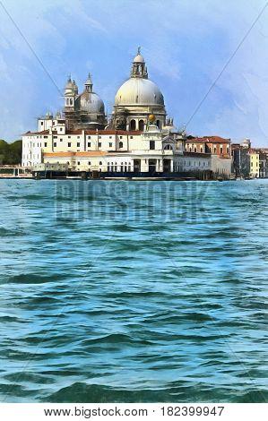 Colorful painting of Church Santa Maria della Salute, Venice, Veneto, Itlaly