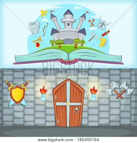 Medieval banner set horizontal in cartoon style for any design vector illustration