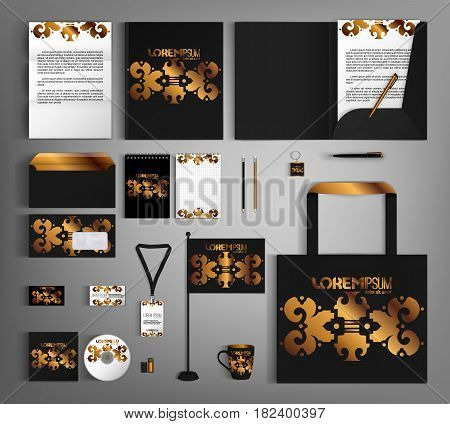 Black corporate identity template design with gold vintage design elements.  Business set stationery.