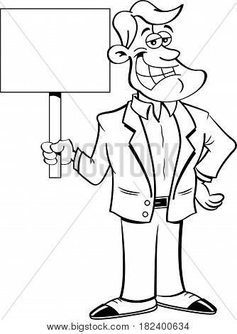 Cartoon illustration of a smiling man holding a sign.