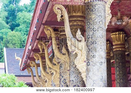 Luang Prabang, Laos - Jun 12 2015: Vat May Souvannapoumaram. A Famous Temple In Luang Prabang Which