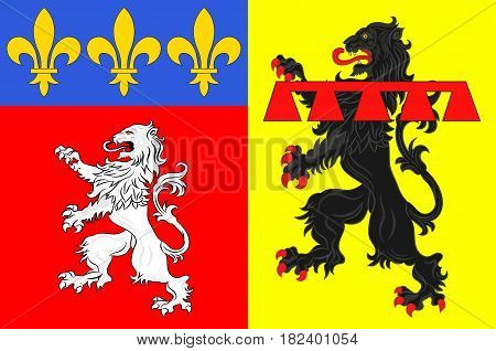 Flag of Rhone is a French department located in the central Eastern region of Auvergne-Rhone-Alpes. Vector illustration