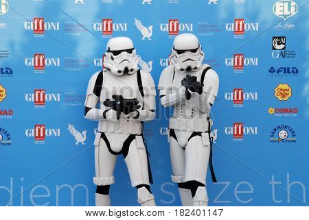 Giffoni Valle Piana Sa Italy - July 20 2015 : Stormtroopers Star Wars at Giffoni Film Festival 2015 - on July 20 2015 in Giffoni Valle Piana Italy