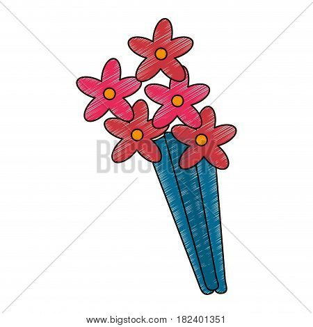 cute drawing bouquet fllowers vector illustration eps 10