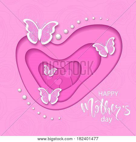 Happy mothers day banner with cut paper butterfly and beads. Vector illustration eps 10 format