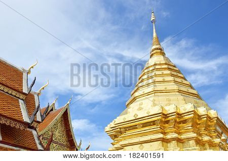 Wat Phrathat Doi Suthep ancient and holy temple in Thailand
