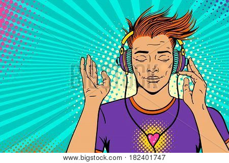 Young sexy ginger man with wide smile and closed eyes in headphones listening to the music. Vector colorful background in pop art retro comic style. Party invitation poster.