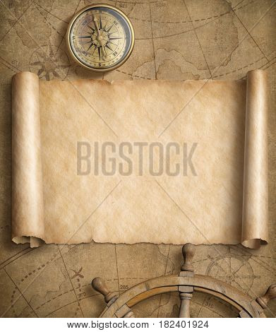 old blank nautical map with steering wheels 3d illustration
