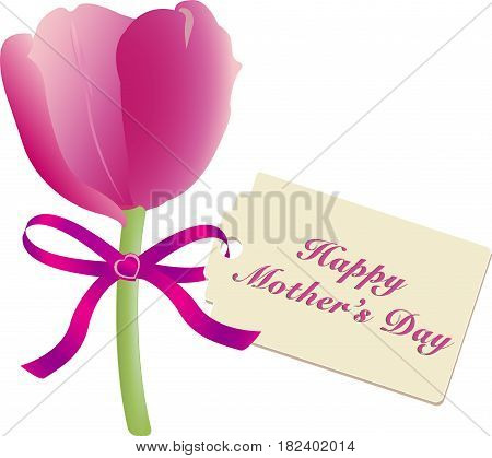 Mothers Day gift of a simple pink tulip tied with silk ribbon and cardboard tag with message of love, vector illustration isolated on white