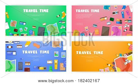 Travel time. Set of banners on travel, vacation, adventure theme. Preparing for journey. Things necessary traveler. Top view. Colorful background in flat style