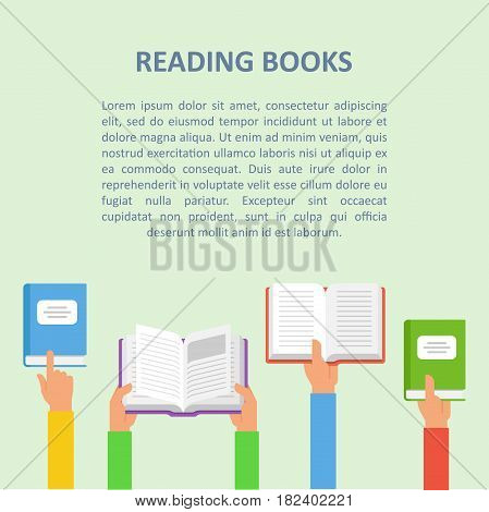 The hands of people are holding open books. The concept of reading books or learning. Book thematic banner, poster or flyer.