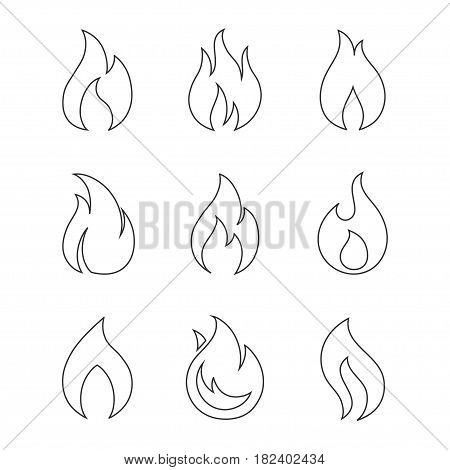 Fire outline icons on white background. Burning fireball concept signs. Set of different fire flame icons in a linear style. Set of contour bonfire icons.