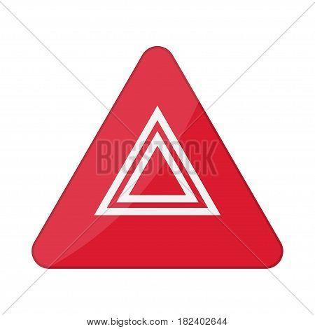 Hazard warning lights flashes button in car. Vector illustration