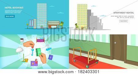 Hotel banner set horizontal in cartoon style for any design vector illustration