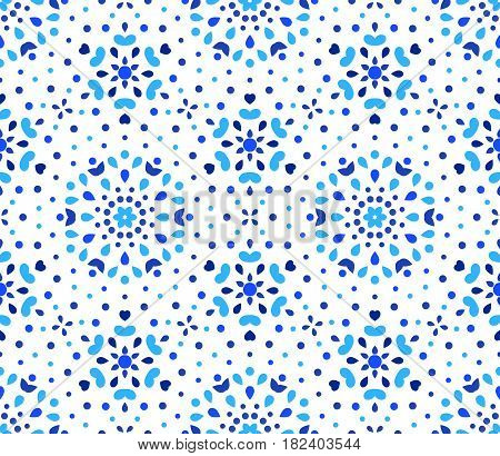 Blue Flower Pattern. Seamless Boho Background. Hexagon design element. Vector illustration for wallpaper print, linen fabric. Ethnic textile graphic. Floral decorative ornament.