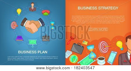 Business strategy plan banner set in cartoon style for any design vector illustration