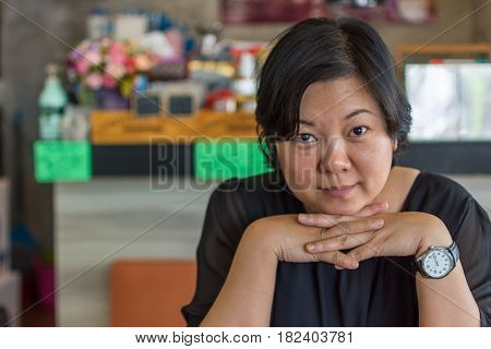 Asia Women In Black Dress Thao Chin In Coffee Shop