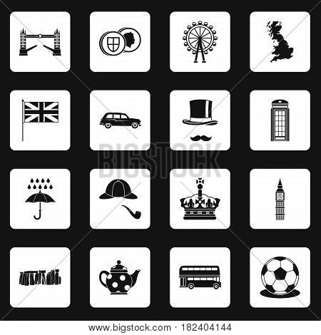 Great Britain icons set in white squares on black background simple style vector illustration