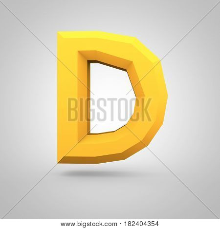 Yellow Low Poly Alphabet Letter D Uppercase Isolated On White Background.