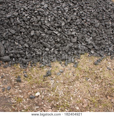 A bunch of coal anthracite for heating rural houses