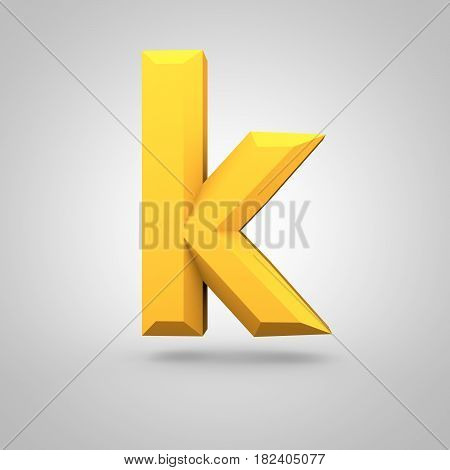 Yellow Low Poly Alphabet Letter K Lowercase Isolated On White Background.