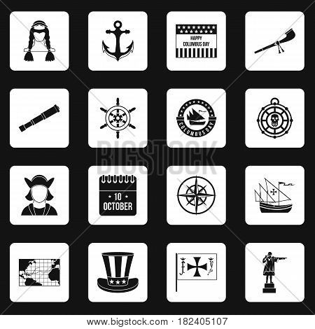 Columbus Day icons set in white squares on black background simple style vector illustration