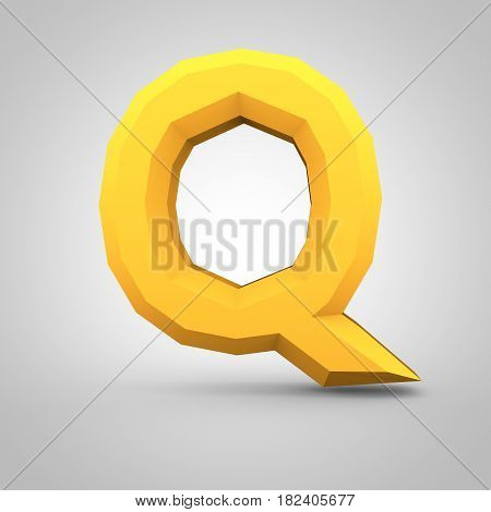 Yellow Low Poly Alphabet Letter Q Uppercase Isolated On White Background.