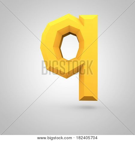Yellow Low Poly Alphabet Letter Q Lowercase Isolated On White Background.