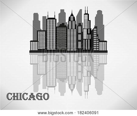 Chicago City skyline - black and white vector illustration.