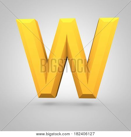 Yellow Low Poly Alphabet Letter W Uppercase Isolated On White Background.