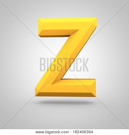 Yellow Low Poly Alphabet Letter Z Uppercase Isolated On White Background.