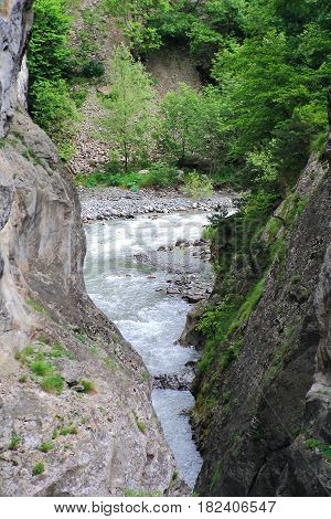 Photo of river in Caucasus mountains in summer