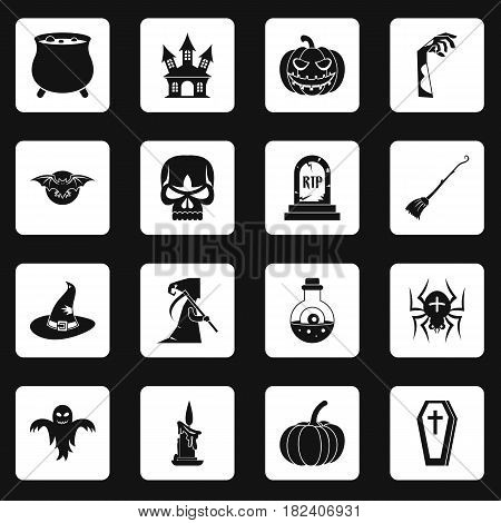 Halloween icons set in white squares on black background simple style vector illustration