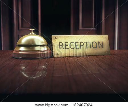 3D illustration. Vintage bell with