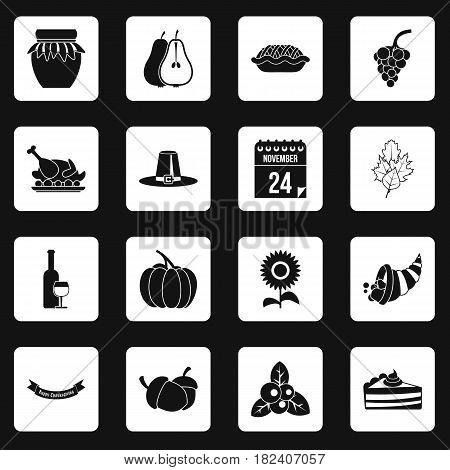Thanksgiving icons set in white squares on black background simple style vector illustration