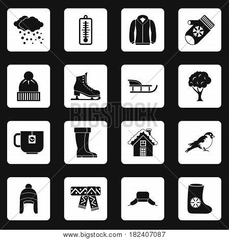 Winter icons set in white squares on black background simple style vector illustration