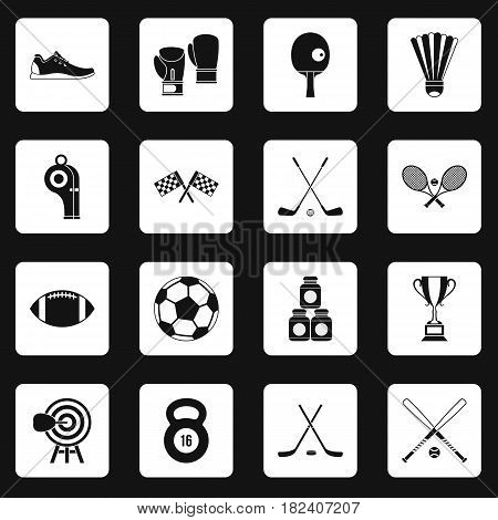 Sport equipment icons set in white squares on black background simple style vector illustration