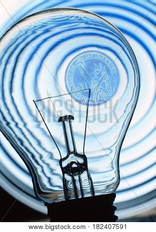 electric bulb on a blue abstract background