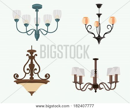 Chandelier silhouette isolated on white background. Set of stylish original chandeliers. Flat style vector illustration