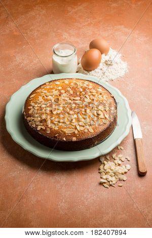 homemade cake with almonds and yogurt