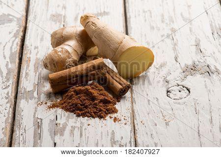 cinnamon with fresh ginger