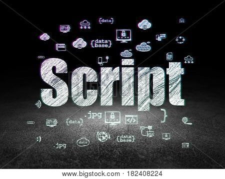 Programming concept: Glowing text Script,  Hand Drawn Programming Icons in grunge dark room with Dirty Floor, black background