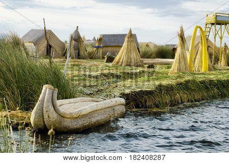 The Uros Floating Islands on Lake Titicaca Peru