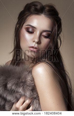 Fashion Stylish Beauty Portrait. Beautiful Girl's Face Close-up. Hairstyle. Professional Makeup. Make-up. Vogue Style Woman