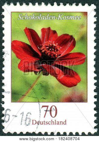 GERMANY - CIRCA 2015: A stamp printed in Germany shows a flower Cosmos atrosanguineus circa 2015